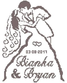 Wedding Cross Stitch Pattern P Wedding Cross Stitch Patterns, Cross Stitch Designs, Cross Stitching, Cross Stitch Embroidery, Diy Wedding Gifts, Wedding Kiss, Cross Stitch Heart, Le Point, Canvas Patterns