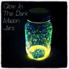 "Glow In the Dark Mason Jars Aka ""Fairies"" This is the insides from a glowstick. I have also seen glitter added. These can glow for up to 6 hours, What a great idea for an outdoor party that is at night time. It Would be a great thing to do with the kids on a dark summer night too:)"