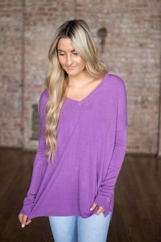 Shop our Cozy V-Neck Sweater in Orchid. Pair with skinny jeans, booties, and a pendant necklace for a casual look. Always free shipping on all US orders.