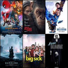 Looking forward to seeing these on the big screen! Reviews will follow per usual. - - - - - #movie #movies #moviereview #moviereviews #film #films #filmreview #filmreviews #cinema #movienight #moviejunkie #filmjunkie #reviewer #writer #media #press #entertainment #spidermanhomecoming #warfortheplanetoftheapes #valerian #dunkirk #bigsick #atomicblonde #vlog #brunansky