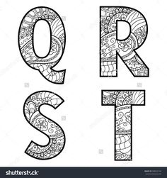 Set of vector big letters with pattern doodle. Letter Q, R, S, T.