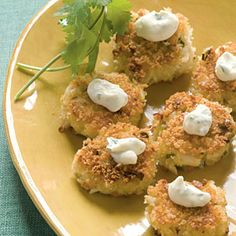 """Bite-size Wasabi Crab Cakes 