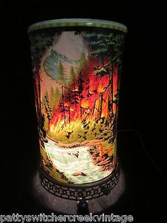 Mid-Century Motion Scenic Animated Lamp-Econolite-FOREST FIRE-1955