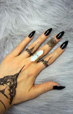 """Henna Hand Charm"" - Black"
