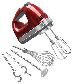 KitchenAid - 9-Speed Hand Mixer - Candy Apple Red