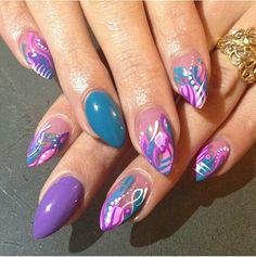 Nail art - purple pink teal