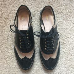 """Bass X Rachel Antonoff Clear and Black Oxfords 1/2"""" heel. Leather upper and lining, manmade sole. Great condition, sticker residue on inner sole. Bass Shoes Flats & Loafers"""