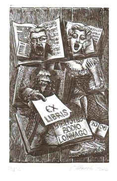 Ex libris di Valerio Mezzetti per Biblioteca di Bodio Lomnago.  2006. Contemporary. Valerio Mezzetti artist