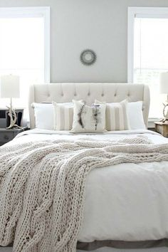 White bedroom furniture ideas grey guest bedroom ideas bhgs best home decor inspiration bedroom guest bedrooms bedroom decor homebnc guest bedroom ideas Farmhouse Style Bedrooms, Farmhouse Master Bedroom, Hamptons Style Bedrooms, Cottage Bedrooms, Bedroom Rustic, White Rooms, White Walls, Gray Walls, Accent Walls