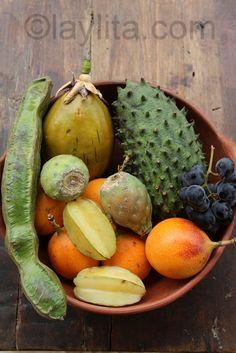 Fruits from Ecuador: guaba, tumbo, guanabana, tuna, granadilla and carambola