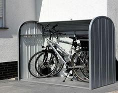Dustbin boxes & bicycle garage made of metal Biohort - Modern Garage Velo, Bicycle Garage, Bike Shed, Bike Storage Design, Garage Apartment Floor Plans, Garage Apartments, Outdoor Bike Storage, Bicycle Quotes, Front Yard Fence