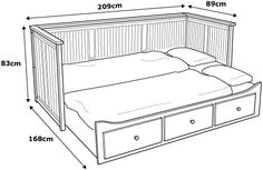 HEMNES grey, Day-bed with 3 drawers. Four functions - sofa, single bed, double bed and storage solution. Sofa Bed Frame, Day Bed Frame, Murphy Bed Ikea, Murphy Bed Plans, Small Room Bedroom, Bedroom Decor, Bedding Decor, Bedroom Red, Boho Bedding