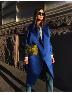 blue satin coat #streetstyle #coat #fashion