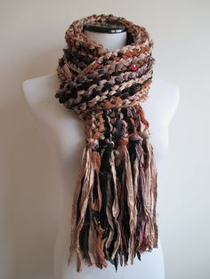 Knit Sari Silk Scarf  Knitted Ribbon Scarf  by PyramidSkein