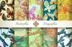 Butterflies and Dragonflies by Patternalized on @creativemarket