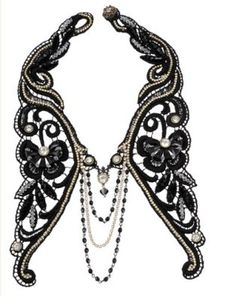 Victorian Glamour Michal Negrin Timeless Spark Collection Luxurious Collar Fine Crochet Lace Based Necklace Designed with Butterfly and Leaf Ornaments, Falling Chain, Enhanced with Sparkling Gray Swarovski Crystals: Michal Negrin: Jewelry