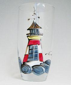 Verre à eau (510 ml) : : Phare   *** Produit peint à la main. Ceramics Ideas, Glass Bottles, Projects To Try, Pottery, Tableware, Diy, Painting, Home Decor, Cups
