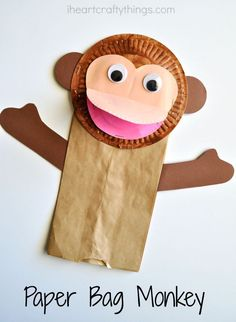 Paper Bag Monkey Craft for Kids - Masken Basteln Kinder Cute Kids Crafts, New Year's Crafts, Toddler Crafts, Craft Kids, Kids Diy, Toddler Toys, Baby Toys, Monkey Crafts, Monkey Art