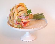 Vintage Jeannette Glass Pink Milk Glass Harp Cake Stand/Cake Plate Pink Shell - Mid Century