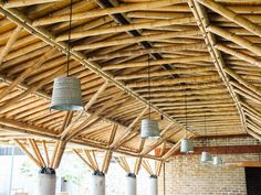 Image 7 of 50 from gallery of Sport City Oaxaca / Rootstudio + Arquitectos Artesanos. Photograph by Angel Ivan Valdivia Salazar Bamboo Architecture, Sustainable Architecture, Architecture Design, Bamboo Structure, Timber Structure, Bamboo Art, Bamboo Ideas, Wood Truss, Bamboo House Design