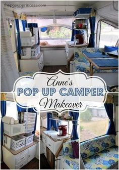 Anne's Pop Up Camper Makeover - A light and airy pop up camper makeover with tons of storage ideas.  Love this one!