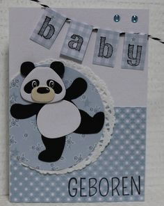 Gemaakt door Joke # Babykaart met Pandabeer