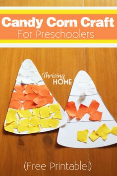 Here is a cheap and easy Halloween craft for preschoolers: Candy Corn decorating! Little hands love ripping the paper and using the glue. It's a great teaching opportunity about colors as well. Snag the free printable and get this craft started with your little ones!