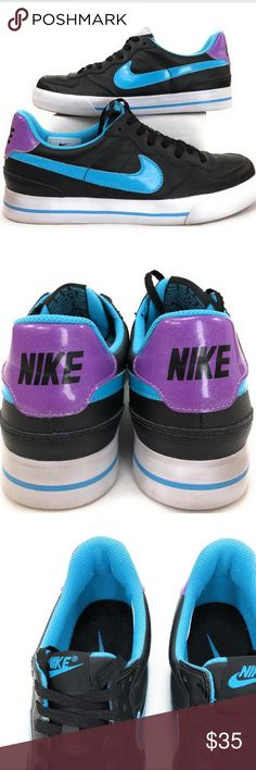Nike women's Sweet Ace 82 Vintage court shoes 8M Old school Nike court shoes. Women's size 8. Black purple and aqua blue. The white bottom trim has some wear spots. Nike Shoes Athletic Shoes