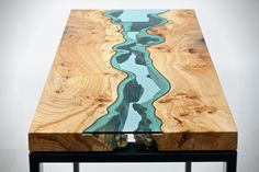 Wood Tables Embedded with Glass Rivers by Greg Klassen http://hiconsumption.com/2014/07/wood-tables-embedded-with-glass-rivers-and-lakes/ furniture maker's website - wood and glass coffee tables decor http://gregklassen.bigcartel.com/