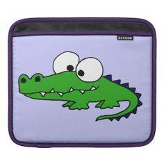 Funny Alligator Cartoon Sleeves For iPads #alligator #funny #ipad #sleeve #animals And www.zazzle.com/tickleyourfunnybone*
