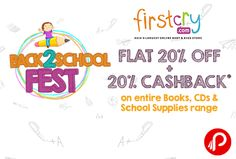 Firstcry is offering Flat 20% off + 20% cashback on Books, CDs, School Supplies range. Max Cashback is Rs.250.  http://www.paisebachaoindia.com/books-cds-school-supplies-flat-20-off-20-cashback-firstcry/