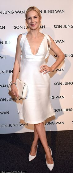 Elegant: Former Melrose Place darling Kelly Rutherford, 46, attended the Son Jung Wan fashion show in New York on Saturday, looking perky and confident