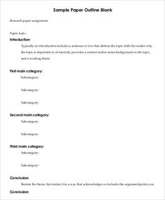 college paper outline template  presentation  essay outline sample  classification essay outline template printable research paper outline  template  free word pdf