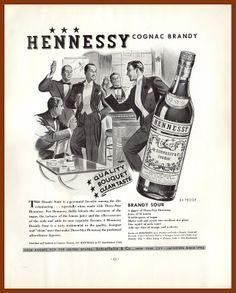 1938 Vintage Ad Hennessy 3 Star Cognac Brandy Tuxedos Men Party Art Ad