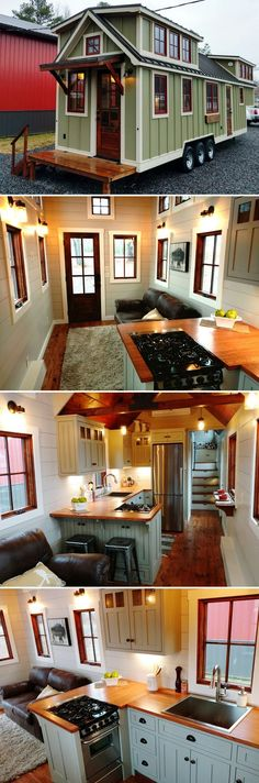 This 37' gooseneck tiny house includes 23 wood clad windows, two exterior doors, a folding rear porch, and an outdoor shower.