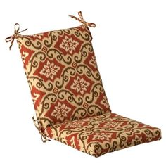 (CLICK IMAGE TWICE FOR UPDATED PRICING AND INFO) #home #cushions #homeimprovement #outdoor #patio #chair #chaircushions #replacamentcushion #patiochaircushion  see more chair cushions at http://zpatiofurniture.com/category/patio-furniture-categories/patio-chair-cushions/ - Pillow Perfect Indoor/Outdoor Red/Tan Damask Chair Cushion, Squared « zPatioFurniture.com