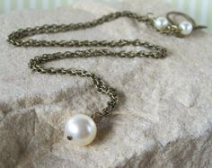 Purity Pearl  Antique Brass And Swarovski Crystal by MixedUpMetal, $22.00