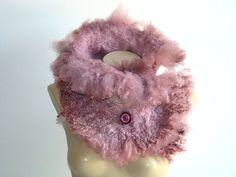 Dusty Cedar Super Chunky Infinity Cowl Fur Scarf by NataliyaMalik