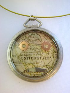 Steam Punk Map Pendant