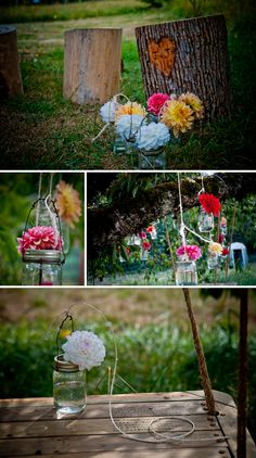 tree stump stools and gorgeous little jars as vases