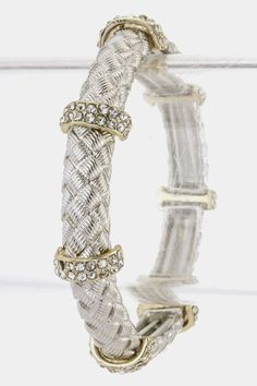 WOVEN PATTERN CRYSTAL ACCENT BRACELET (Two Tone) - $18