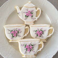 61 New Ideas For Cupcakes Wedding Ideas Tea Cups Mother's Day Cookies, Fancy Cookies, Iced Cookies, Cute Cookies, Cupcake Cookies, Sugar Cookies, Elegant Cookies, Frosted Cookies, Teapot Cake