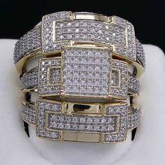 14K Yellow Gold Finish Round Cut Diamond Engagement Bridal Wedding Ring Trio Set #WeddingEngagementAnniversaryBrithdayPartyGift