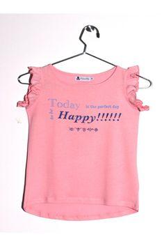 """Top tacto melocotón, con volante en las mangas de color rosa. Texto  estampado  """"Today is the perfect day to be Happy!!!!!!!"""" en dos colores, el azul marino en glitter. www.mokkima.com"""