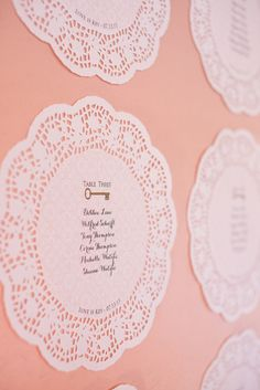 Paper doilies for seating plan Seating Plan Wedding, Wedding Table, Wedding Blog, Diy Wedding, Seating Plans, Wedding Ideas, Tableau Marriage, Seating Charts, Here Comes The Bride