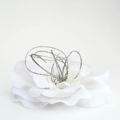 White Flower Hair Clip Wedding Hairpiece by FastCrawl on Etsy