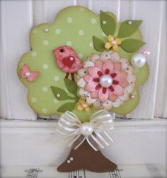 Vintage style Spring Green Tree Shabby Pink Sweet n Cute Bird Embellishment Tag - made by vsroses
