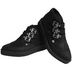 T.U.K. Shoes 3 Buckle Black Waxy Suede Pointed Creeper Boot