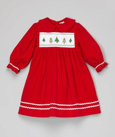 Red Christmas Tree Smocked Dress - Infant, Toddler & Girls #zulily #zulilyfinds