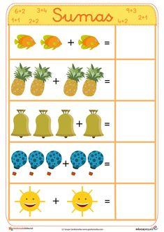Fichas para aprender a sumar de manera sencilla y muy visual. Aprovecha y utilízalas para los más peques Math Games For Kids, Kids Math Worksheets, Preschool Activities, Dyslexia Activities, Montessori Math, Preschool Math, Kindergarten Centers, Math Addition, Kids Education